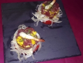 Tuna and Shrimps Tartare with mango and fennels